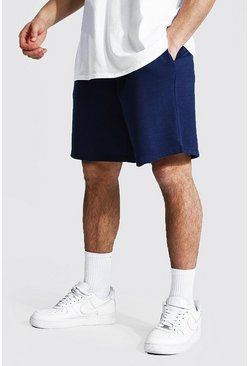 Navy Basic Mid Length Loose Jersey Shorts