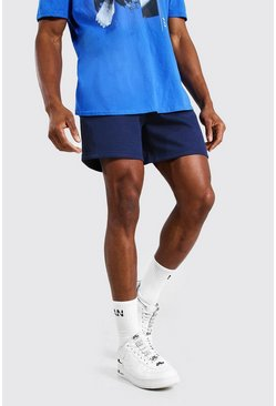 Navy Basic Short Length Regular Jersey Shorts