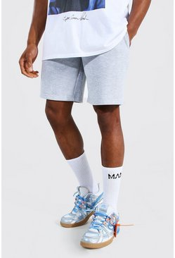 Grey marl Basic Mid Length Regular Jersey Shorts