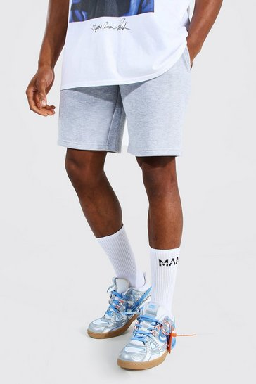 Grey marl grey Basic Mid Length Regular Jersey Shorts