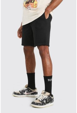 Short slim mi-long basique en jersey, Black noir