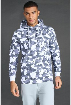 Grey Man Active Abstract Print Hoodie