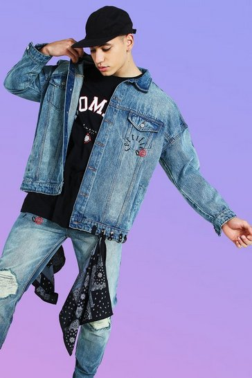 Antique blue Oversized Bandana Detail Denim Jacket