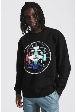 Black Oversized Nasa Graphic License Sweatshirt