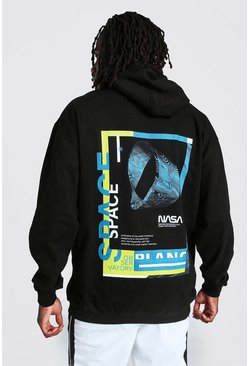 Black Oversized Nasa Graphic License Hoodie
