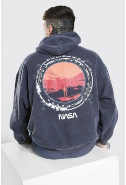 Charcoal grey Oversized Nasa License Acid Wash Moon Hoodie