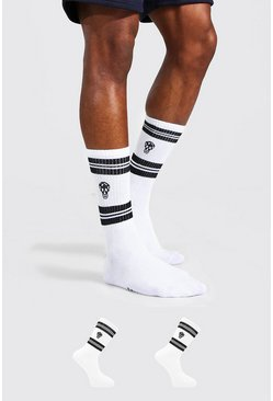 White 2 Pack Man Dash Skull Socks With Stripes