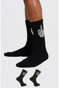 Black 2 Pack Jacquard Skull Finger Sport Socks