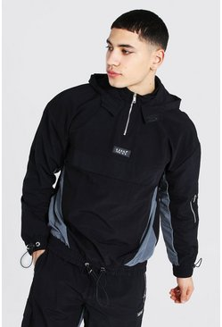 Anorak oversize color block MAN, Noir