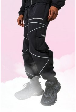 Black Oversized Man Jogger With Reflective Piping