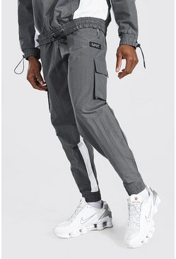 Charcoal grey Oversized Man Colour Block Utility Joggers