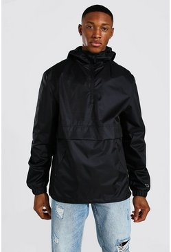 Man Smart Packable Overhead Cagoule, Black nero