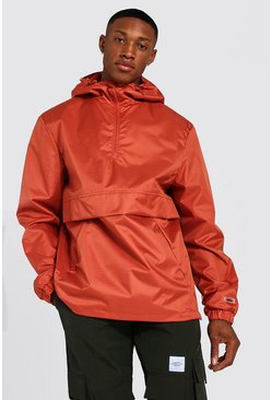 Rust orange Man Smart Packable Overhead Cagoule