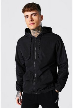 Black Hooded Lightweight Zip Through Cagoule