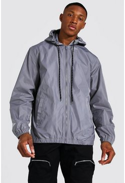 Hooded Lightweight Zip Through Cagoule, Charcoal gris