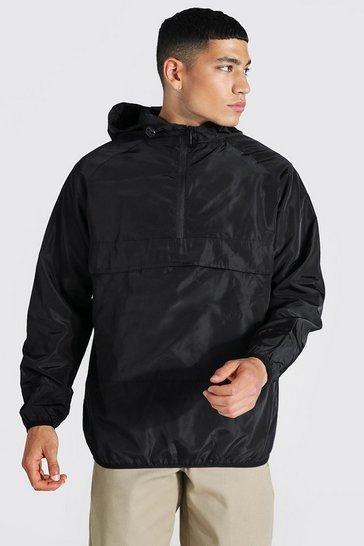 Black Hooded Lightweight Overhead