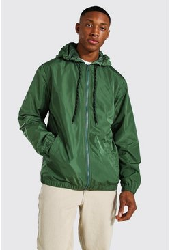 Hooded Lightweight Zip Through Cagoule, Khaki caqui