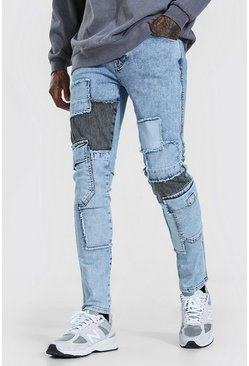 Ice blue Stretch Cargo Skinny Jeans Met Patches