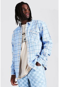 Powder blue blue Oversized Flannel Shirt