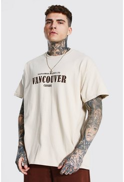 Sand beige Oversized Vancouver Print T-shirt