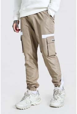 Steenrood beige Contrasterende Cargo Soft-Shell Joggingbroek Met Rubberen Label