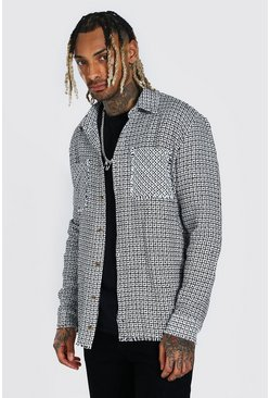 Black Boucle Check Overshirt