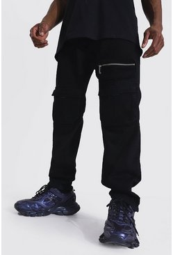 Relaxed Fit Popper Hem Cargo Jean, True black
