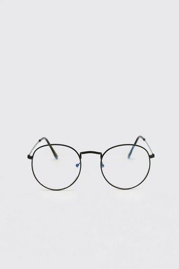 Silver Round Blue Light Lens Fashion Glasses