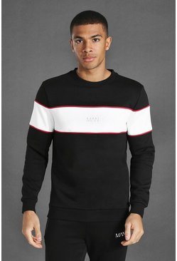 Man Active Blocked Panel Sweatshirt, Black noir