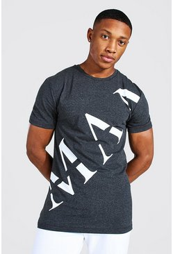 Charcoal grey Man Roman Front Print T-shirt