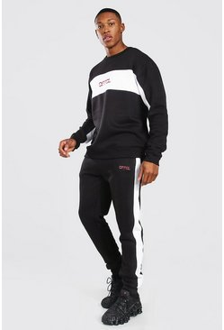 Official Colour Block Sweater Tracksuit, Black negro
