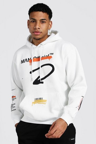 Ecru white Loose Fit Man Worldwide Print Hoodie