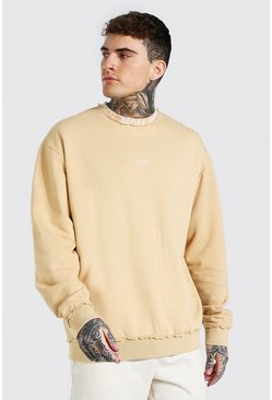 Sand beige Oversized Original Man Neck Sweatshirt