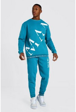 Blue Man Roman Print Sweater Tracksuit With Rib
