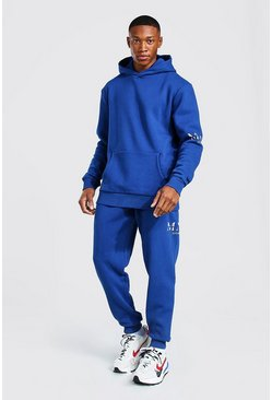 Navy Man Roman Sleeve Print Hooded Tracksuit