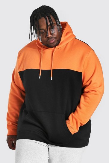 Orange Plus Size Colour Block Hoodie