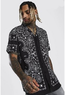 Black Short Sleeve Revere Oversized Bandana Shirt