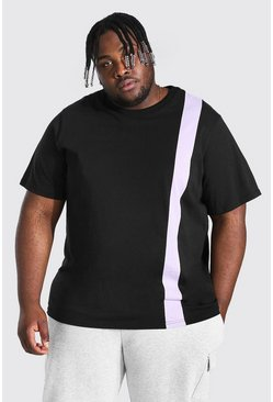 Plus Size Colour Block T-shirt, Black noir