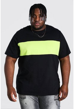 Black Plus Size Colour Block T-shirt