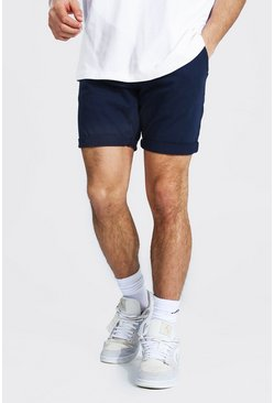 Skinny Fit Chino-Shorts, Marineblau