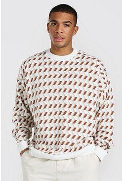 Cream white Geo Print Oversized Crew Neck Knitted Jumper