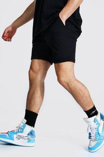 Black Skinny Fit Chino Short