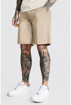 Relaxed Fit Chino Short, Stone beis