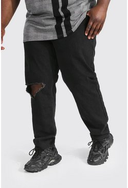 Black Plus Size Slim Fit Exploded Knee Jean