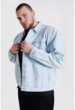 Light blue blue Plus Size Boxy Fit Distressed Denim Jacket