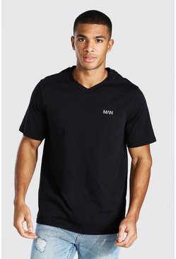 Black Original Man T-Shirt Met V-Hals