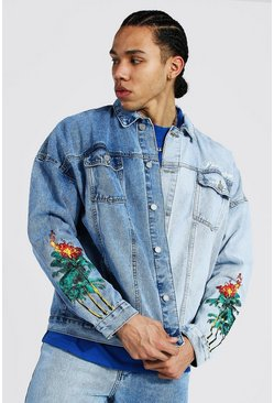 Ice blue Tall Oversized Spliced Palm Tree Denim Jacket
