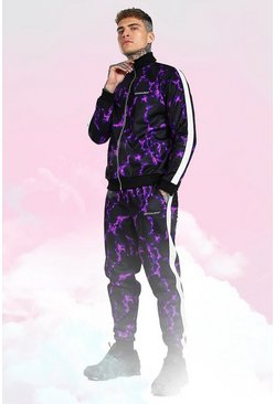 Official Man Lightning Print Tricot Tracksuit, Purple Фиолетовый