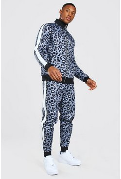 Official Man Leopard Print Tricot Tracksuit, Brown marrón