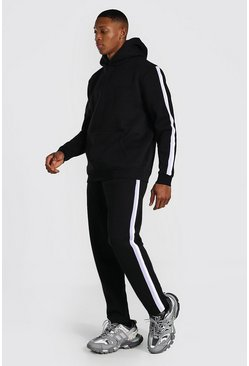 Black Official Man Knitted Panel Hooded Tracksuit